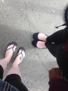 Probably not appropriate footwear. I recommend not wearing flip flops!
