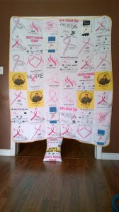 My Uncle had this amazing quilt made from run t-shirts. Love it.