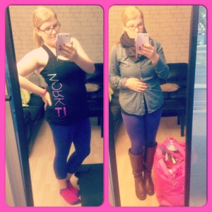 My workout outfit and what I wore to get to the gym. That giant pink bag is full of all my stuff for the day.