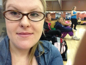 Sneaky picture of me with the other people in the class before we got started.