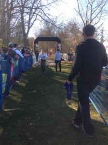Marissa crossing the finish line!